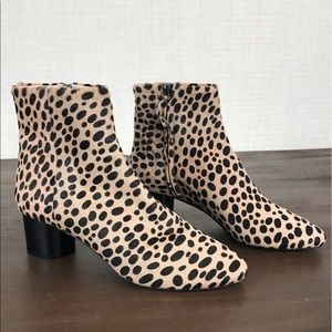 Cavallini leopard calf hair booties